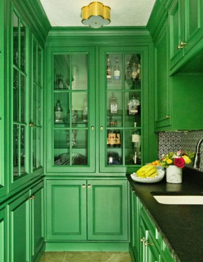 Green Floor-to-Ceiling Cabinets
